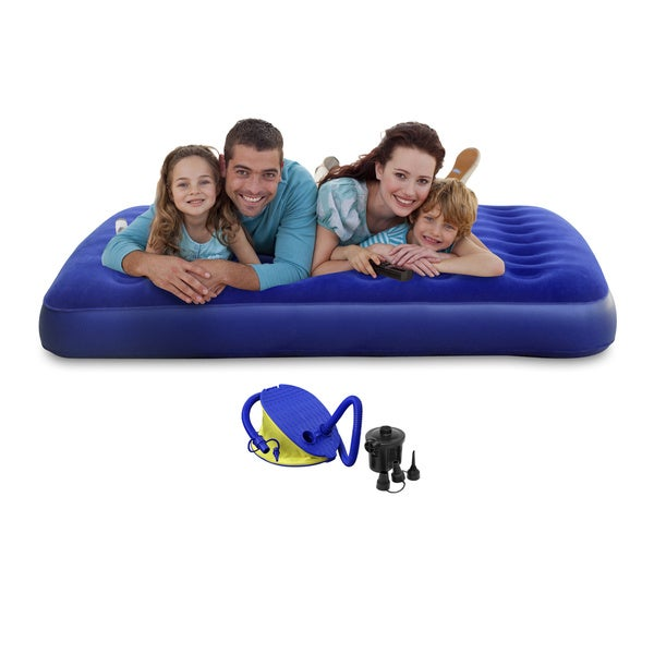 Twin-size Blue PVC Air Mattress