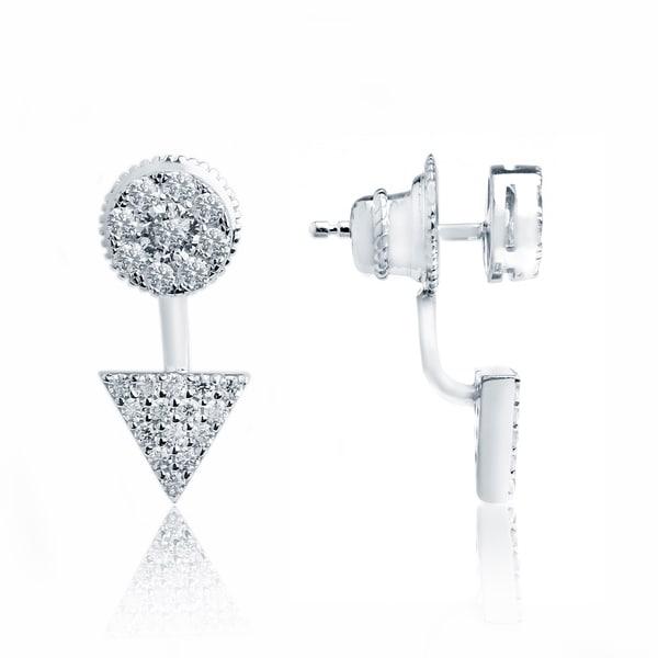 Rhodium-plated Sterling Silver Cubic Zirconia Stud Earrings