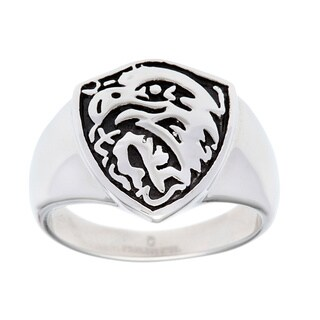 Stainless Steel Antiqued Eagle Ring
