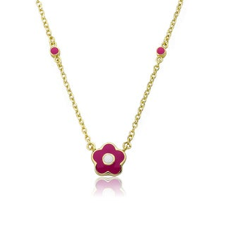 Little Miss Twin Stars Frosted Flowers Children's 14k Goldplated Hot Pink Enamel Flower Necklace