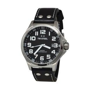 TW Steel Men's TW408 'Pilot' Black Leather Watch