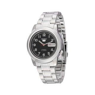Seiko Men's SNKK35K1 5 Black Dial Stainless Steel Watch