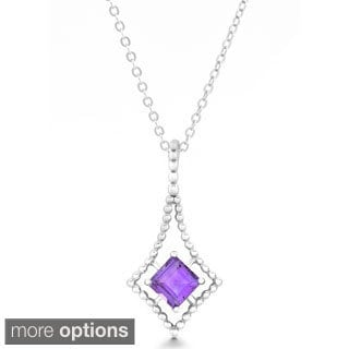 La Preciosa Sterling Silver Amethyst, Blue Topaz Pendant Necklace