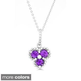 La Preciosa Sterling Silver Triple Gemstone Pendant Necklace