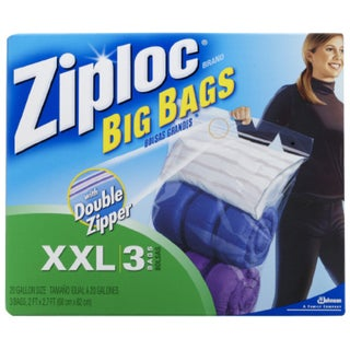 Ziploc XXLarge Big Bags with Double Zipper (Pack of 8 Boxes)
