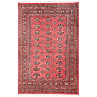 Herat Oriental Pakistani Hand-knotted Tribal Bokhara Red/ Black Wool Rug (4' x 6')