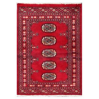 Herat Oriental Pakistani Hand-knotted Tribal Bokhara Red/ Black Wool Rug (2'1 x 2'10)
