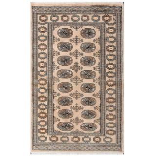 Herat Oriental Pakistani Hand-knotted Tribal Bokhara Tan/ Black Wool Rug (3'2 x 5')