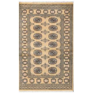 Herat Oriental Pakistani Hand-knotted Tribal Bokhara Tan/ Black Wool Rug (3' x 4'11)