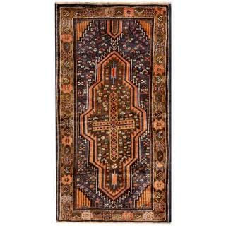 Herat Oriental Semi-antique Afghan Hand-knotted Tribal Balouchi Navy/ Gold Wool Rug (2'6 x 4'7)