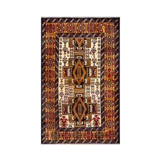 Herat Oriental Semi-antique Afghan Hand-knotted Tribal Balouchi Gold/ Ivory Wool Rug (2'7 x 4'2)
