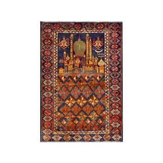 Herat Oriental Semi-antique Afghan Hand-knotted Tribal Balouchi Blue/ Gold Wool Rug (2'8 x 3'10)