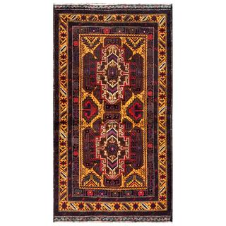 Herat Oriental Semi-antique Afghan Hand-knotted Tribal Balouchi Gold/ Navy Wool Rug (2'6 x 4'1)