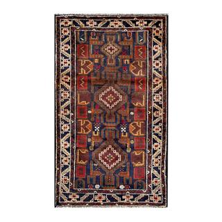 Herat Oriental Semi-antique Afghan Hand-knotted Tribal Balouchi Navy/ Brown Wool Rug (2'7 x 4'7)