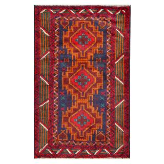 Herat Oriental Semi-antique Afghan Hand-knotted Tribal Balouchi Blue/ Red Wool Rug (2'11 x 4'8)
