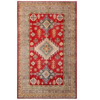 Herat Oriental Afghan Hand-knotted Kazak Red/ Ivory Wool Rug (6'2 x 10'1)