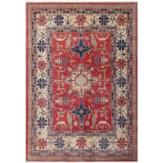 Herat Oriental Afghan Hand-knotted Kazak Red/ Ivory Wool Rug (5'11 x 8'9)