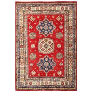 Herat Oriental Afghan Hand-knotted Kazak Red/ Ivory Wool Rug (6'6 x 9'4)
