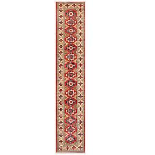 Herat Oriental Afghan Hand-knotted Kazak Red/ Ivory Wool Rug (2'7 x 14')