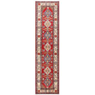 Herat Oriental Afghan Hand-knotted Kazak Red/ Ivory Wool Rug (2'9 x 10'6)