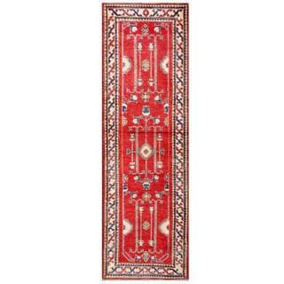 Herat Oriental Afghan Hand-knotted Kazak Red/ Ivory Wool Rug (2'10 x 9')