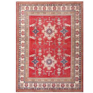Herat Oriental Afghan Hand-knotted Kazak Red/ Ivory Wool Rug (9'4 x 12'8)