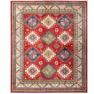 Herat Oriental Afghan Hand-knotted Kazak Red/ Ivory Wool Rug (8'1 x 9'9)