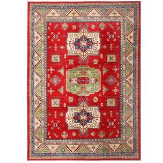 Herat Oriental Afghan Hand-knotted Kazak Red/ Ivory Wool Rug (9' x 12'7)