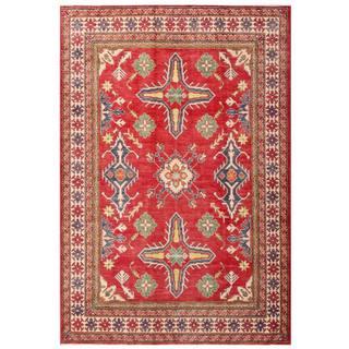 Herat Oriental Afghan Hand-knotted Kazak Red/ Ivory Wool Rug (5'10 x 8'7)