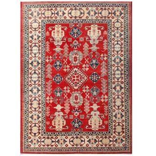 Herat Oriental Afghan Hand-knotted Kazak Red/ Ivory Wool Rug (7'1 x 9'10)