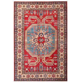 Herat Oriental Afghan Hand-knotted Kazak Red/ Ivory Wool Rug (7' x 10'7)