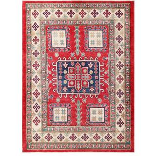 Herat Oriental Afghan Hand-knotted Kazak Red/ Ivory Wool Rug (4'8 x 6'2)