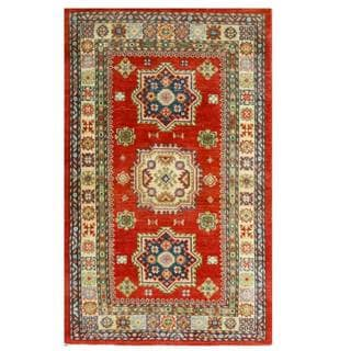 Herat Oriental Afghan Hand-knotted Kazak Red/ Green Wool Rug (3'1 x 5')