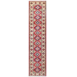 Herat Oriental Afghan Hand-knotted Kazak Red/ Ivory Wool Rug (2'9 x 11'10)