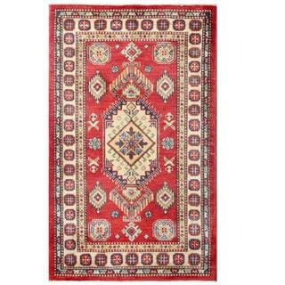 Herat Oriental Afghan Hand-knotted Kazak Red/ Ivory Wool Rug (3'1 x 5'1)