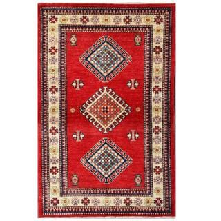 Herat Oriental Afghan Hand-knotted Kazak Red/ Ivory Wool Rug (3' x 4'9)