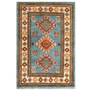 Herat Oriental Afghan Hand-knotted Kazak Blue/ Ivory Wool Rug (2' x 3'1)