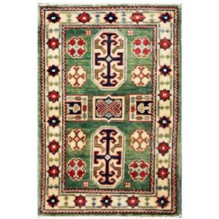 Herat Oriental Afghan Hand-knotted Kazak Green/ Ivory Wool Rug (1'9 x 2'7)