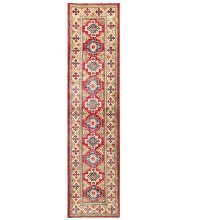 Herat Oriental Afghan Hand-knotted Kazak Red/ Ivory Wool Rug (2'5 x 10'3)