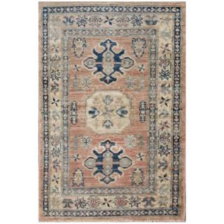 Herat Oriental Afghan Hand-knotted Kazak Salmon/ Ivory Wool Rug (2' x 2'11)
