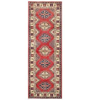 Herat Oriental Afghan Hand-knotted Kazak Red/ Ivory Wool Rug (2' x 6')