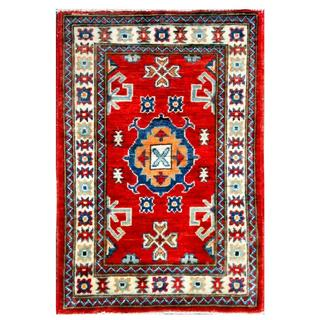 Herat Oriental Afghan Hand-knotted Kazak Red/ Ivory Wool Rug (2' x 2'11)