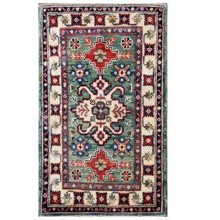 Herat Oriental Afghan Hand-knotted Kazak Green/ Ivory Wool Rug (1'11 x 3'3)