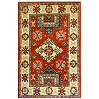 Herat Oriental Afghan Hand-knotted Kazak Red/ Ivory Wool Rug (2' x 3'2)