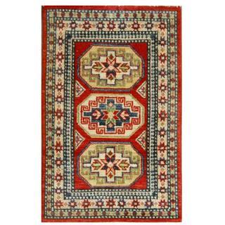 Herat Oriental Afghan Hand-knotted Kazak Red/ Ivory Wool Rug (2' x 3')