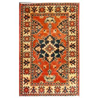 Herat Oriental Afghan Hand-knotted Kazak Red/ Navy Wool Rug (2' x 3'1)
