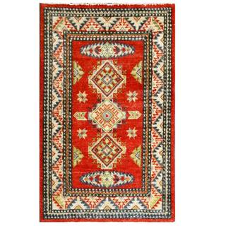 Herat Oriental Afghan Hand-knotted Kazak Red/ Ivory Wool Rug (2' x 3'1)