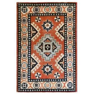 Herat Oriental Afghan Hand-knotted Kazak Rust/ Ivory Wool Rug (2' x 3')