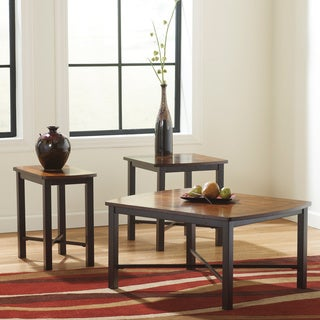 Signature Design by Ashley Fletcher Metal and Birch Veneer 3-piece Occasional Table Set