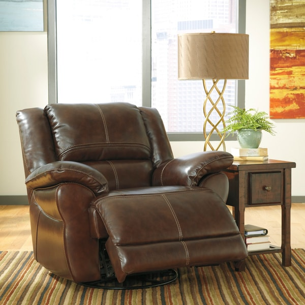 Signature Designs by Ashley Lenoris Coffee Swivel Power Rocker Recliner